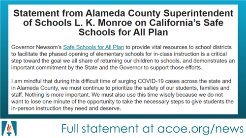 Statement from County Superintendent