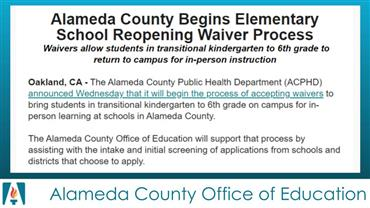 Alameda County Begins Elementary School Reopening Waiver Process