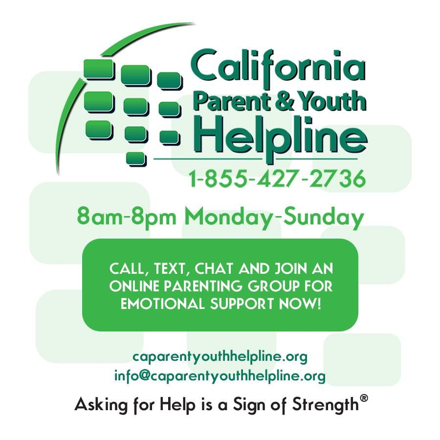 California Parent and Youth Helpline, 1-855-427-2736