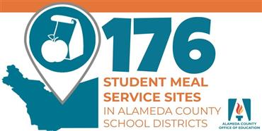 Alameda County graphic and meals icon with text: STUDENT MEAL SERVICE SITES IN ALAMEDA COUNTY SCHOOL DISTRICTS