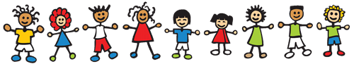 cartoon graphic of kids holding hands